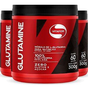 Kit 3 L-Glutamina  Glutamine Vitafor 300G