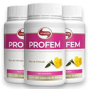 Kit 3 Óleo de Prímula Profem 500mg Vitafor 120 cápsulas