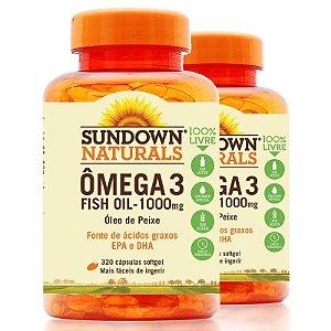Kit 2 Fish Oil Óleo de peixe 1000mg ômega 3 Sundown 320 cápsulas