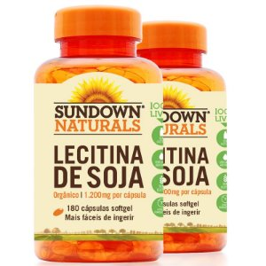 Kit 2 Lecitina de Soja 1200mg Sundown 180 cápsulas