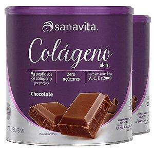 Kit 2 Colágeno hidrolisado em pó Sanavita 300g Chocolate
