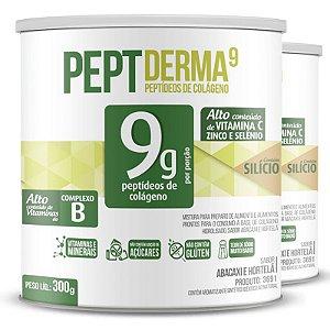 Kit 2 Colágeno hidrolisado Peptderma 9 Chá mais 300g Abacaxi com hortelã