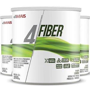 Kit 3 - 4 Fiber Fibras soluveis chá mais 200g sabor Limão