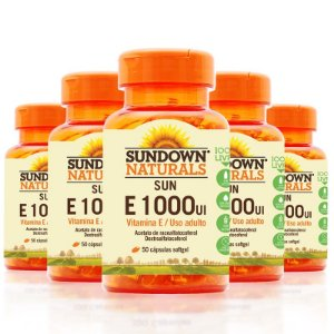 Kit 5 Vitaminas E 1000 IU Sundown 50 cápsulas