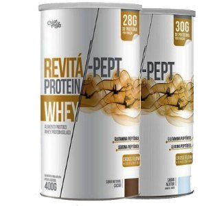 Kit 2 Whey Protein Isolado Pept 30g Revitá 400g Cacau e Neutro
