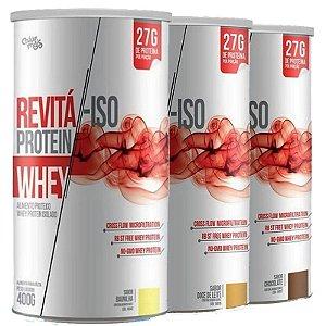 Kit 3 Whey Protein Isolado 27g Revitá 400g Doce de leite, Chocolate e Baunilha
