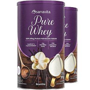 Kit 2 Whey Protein 100% H.I Sanavita Baunilha 375g