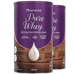 Kit 2 Whey Protein 100% H.I Sanavita neutro 375g