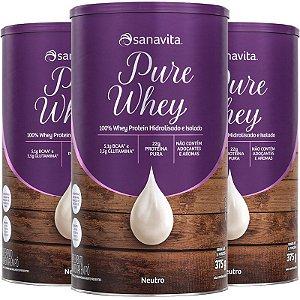 Kit 3 Whey protein 100% H.I Sanavita Neutro 375g