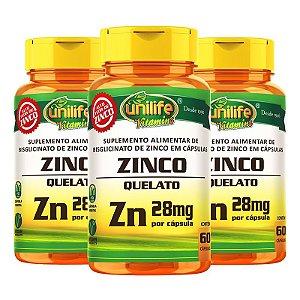Kit 3 Zinco Quelato cápsulas 60 cápsulas Unilife