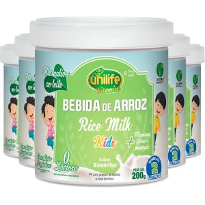 Kit 5 Bebida de Arroz sem Lactose Kids Unilife 200g