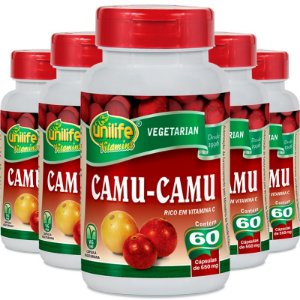 Kit 5 Camu Camu 500mg Vitamina C Unilife 60 Cápsulas