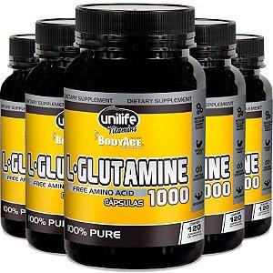 Kit 5 L-Glutamina 100% pura 120 cápsulas Unilife