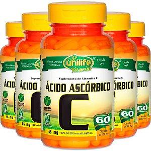 Kit 5 Vitamina C Ácido Ascórbico 60 cápsulas Unilife