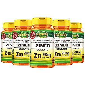 Kit 5 Zinco Quelato cápsulas 60 cápsulas Unilife