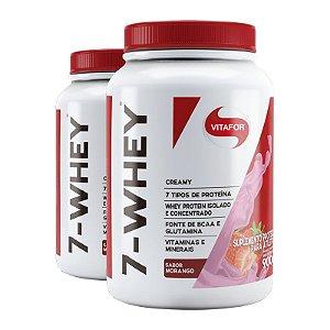 Kit 2 Whey protein 7-Whey Vitafor morango 900g