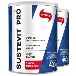 Kit 2 Sustevit pró fibras alimentares Vitafor morango 400g