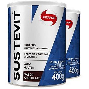 Kit 2 Sustevit Fibras Alimentares Vitafor 400g Chocolate
