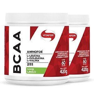 Kit 2 Aminofor BCAA em pó Vitafor limão 430g