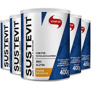 Kit 5 Sustevit Fibras Alimentares Vitafor 400g Baunilha