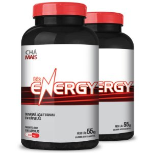 Kit 2 Bio Energy guaraná 500mg Chá Mais 100 cápsulas