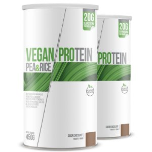 Kit 2 Vegan Protein Pea & Rice Chá mais Chocolate 450g