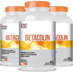 Kit 3 Betacolin Vitamina A 500mg Chá Mais 120 cápsulas