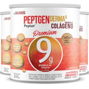 Kit 3 Colágeno hidrolisado premium peptan 9g chá mais 300g Laranja e Gengibre
