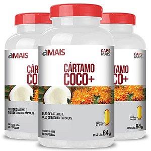 kIt 3 Óleo de Cartamo + Óleo de Coco 1000mg Chá Mais 60 cápsulas