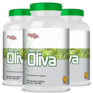 Kit 3 Óleo de Oliva 500mg Chá Mais 100 cápsulas
