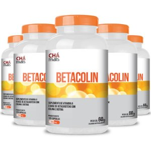 Kit 5 Betacolin Vitamina A 500mg Chá Mais 120 cápsulas