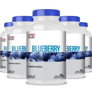 Kit 5 Blueberry Mirtilo 600mg Chá Mais 60 cápsulas