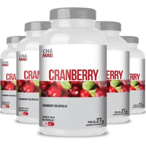Kit 5 Cranberry 450mg Chá Mais 60 cápsulas