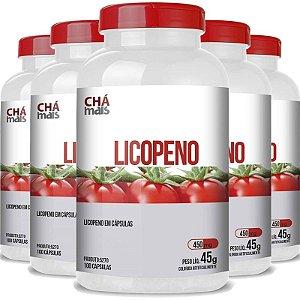 Kit 5 Licopeno Vitamina E 450mg Chá Mais 100 cápsulas