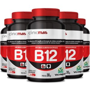 Kit 5 Vitamina B12 500mg Chá mais 60 cápsulas