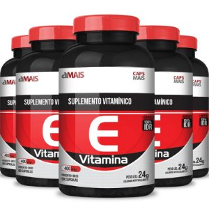 Kit 5 Vitamina E 400mg Chá mais 60 cápsulas
