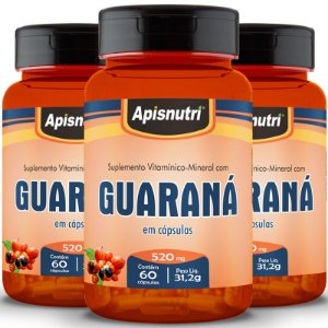 Kit 3 Guaraná Apisnutri 60 cápsulas