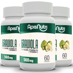 Kit 3 Graviola Apisnutri 60 cápsulas