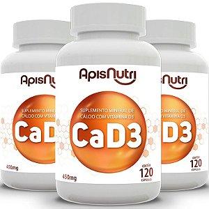 Kit 3 CA + D3 Cálcio + Vitamina D3 Apisnutri 120 cápsulas