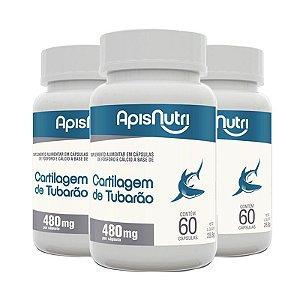 Kit 3 Cartilagem de tubarão Apisnutri 60 cápsulas