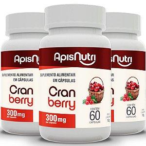 Kit 3 Cranberry Apisnutri 60 cápsulas