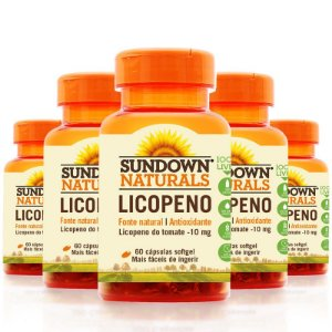 Kit 5 Licopeno 10mg Lycopene Sundown 60 cápsulas