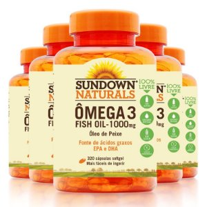 Kit - 5 Fish Oil Ômega 3 Sundown 320 Cápsulas