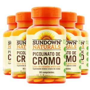 Kit - 5 Picolinato de cromo Sundown 90 Comprimidos