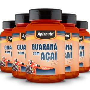 Kit 5 Guaraná com Açaí 500mg Oil Apisnutri 60 Cápsulas