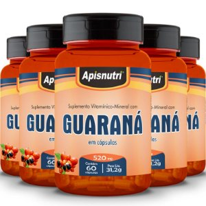 Kit 5 Guaraná Apisnutri 60 cápsulas
