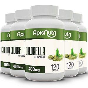 Kit 5 Chlorella Apisnutri 400mg 120 cápsulas