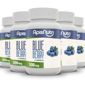 Kit 5 Blueberry Apisnutri 120 cápsulas