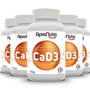 Kit 5 CA + D3 Cálcio + Vitamina D3 Apisnutri 120 cápsulas