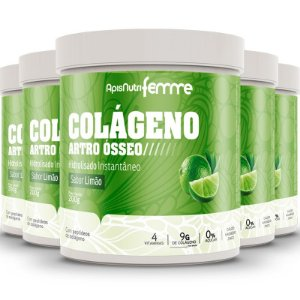 Kit 5 Colágeno artro ósseo Apisnutri Limão e clorofila 200g
